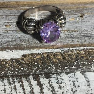 Sterling silver purple stone vintage ring 6